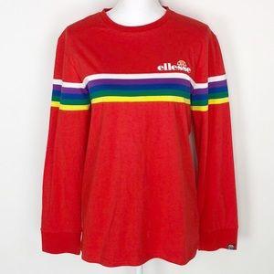 Ellesse Red Rainbow Stripe Long Sleeve